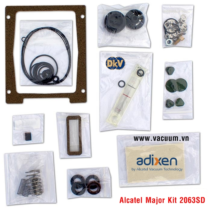 alcatel adixen 2063a, 2063sd rotary vane vacuum pump minor repair rebuild kit , 54485